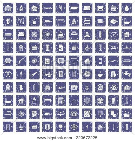100 heating icons set in grunge style sapphire color isolated on white background vector illustration