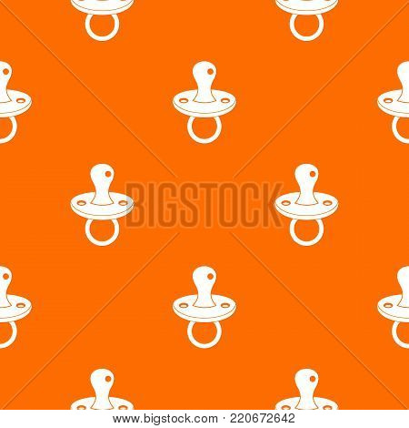 Baby pacifier pattern repeat seamless in orange color for any design. Vector geometric illustration