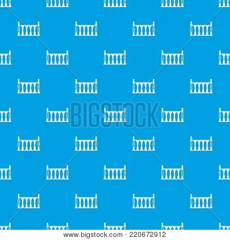 Balustrade pattern repeat seamless in blue color for any design. Vector geometric illustration