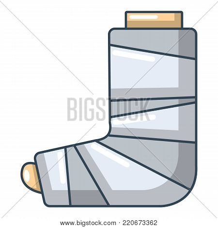 Foot in plaster icon. Cartoon illustration of foot in plaster vector icon for web.