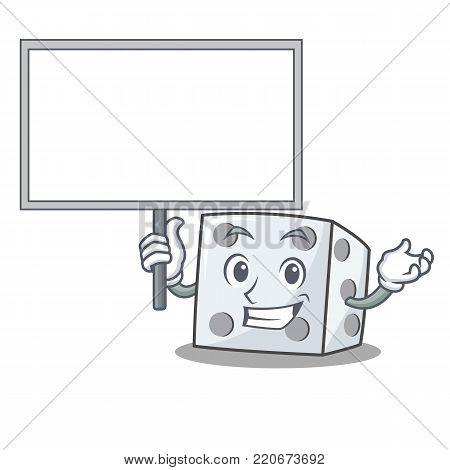 Bring board dice character cartoon style vector illustration