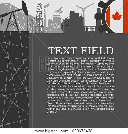 Energy and Power icons set. Sustainable energy generation and heavy industry. Field for text. Modern brochure, report or leaflet design template. Flag of Canada in gear