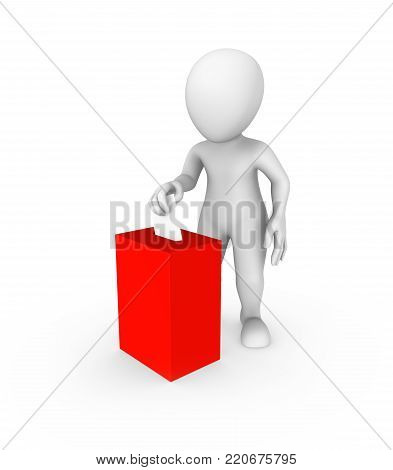 3d white man and red vote box