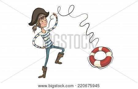 pirate throws a life ring. pirate girl. Cartoon pirate girl swaying the sword