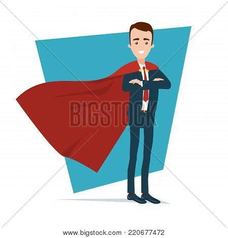 A superhero businessman stands in a confident pose. Hands are stacked on the chest. A red cloak develops in the wind.