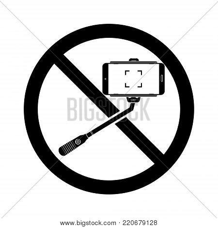 No selfie sticks prohibit sign black and white. Vector illustration isolated prohibit sign on white background.