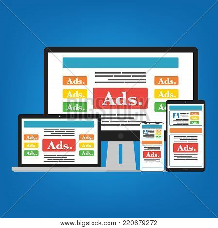 Smartphone mobile, Computer PC, Laptop and Tablet with social media advertising website. Vector illustration social ads digital marketing concept.