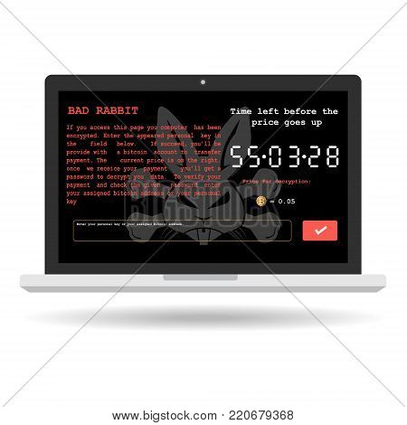 Bad rabbit ransomware malware virus threat extortionist on computer screen with show massage of bit coin payment for decrypt on white background. Vector illustration cyber crime and security concept.