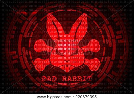 Abstract background Bad rabbit Bad rabbit ransomware malware virus threat. Vector illustration KRACK in wifi cyber security infographic concept.