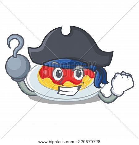 Pirate spaghetti character cartoon style vector illustration