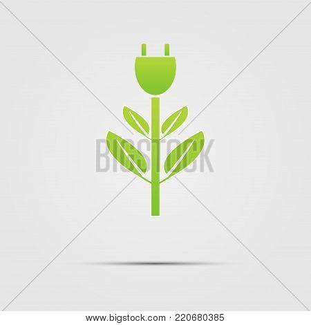 Power Plug Green Ecology Emblem Or Logo. Vector Illustration