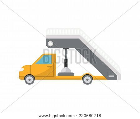 Passenger ladder truck or gangway for plane boarding isolated icon. Airport ground technics, aviation terminal logistics and infrastructure equipment vector illustration.