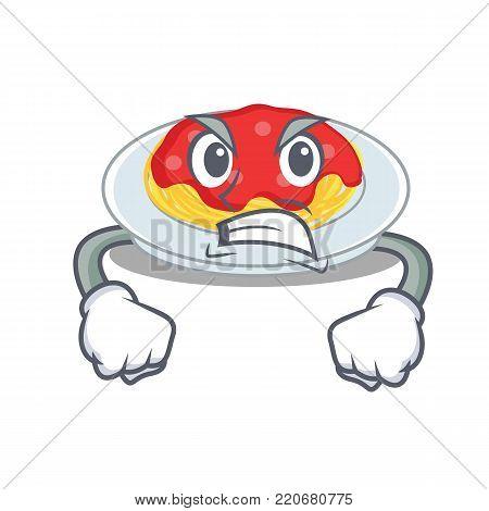 Angry spaghetti character cartoon style vector illustration