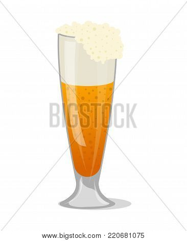 Fresh beer in glass mug isolated icon in cartoon style. Brewery, alcohol drink, ale symbol, bar or pub menu design element vector illustration.