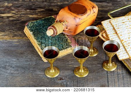 wine and matzoh Jewish holiday, Holiday symbol jewish passover bread Passover matzo Passover wine