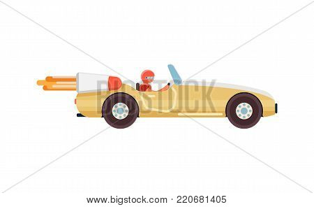 Courier on speedy sport car. Fast food online order and express delivery to door service vector illustration