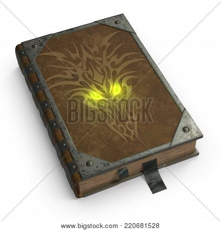 Old magical book in leather binding and iron edging. The book of the devil and Satan. The image is a 3D model renderer. poster