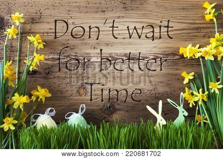 Wooden Background With English Quote Do Not Wait For Better Time. Easter Decoration Like Easter Eggs And Easter Bunny. Yellow Spring Flower Narcisssus With Gras. Card For Seasons Greetings