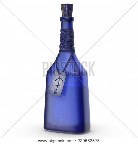 Blue Sealed Bottle with Magical Potion and Tag. This image is a 3D model rendering.