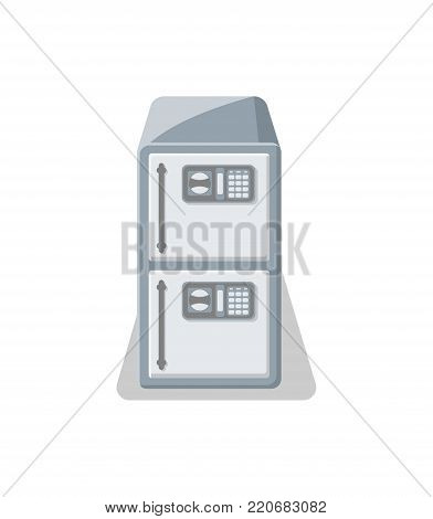Electronic strongbox icon in flat style. Money storage, financial safety, cash security, bank deposit box isolated on white background vector illustration.