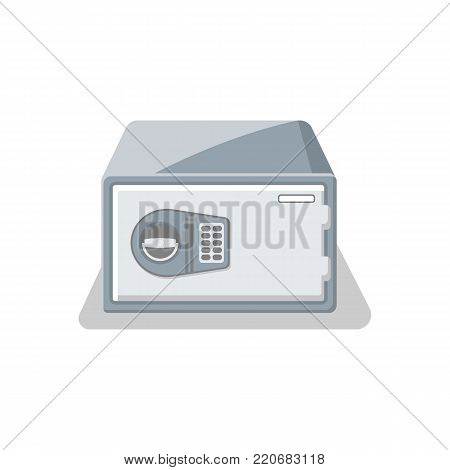 Door bank vault with electronic combination lock icon. Money storage, financial safety, cash security, deposit box isolated on white background vector illustration.