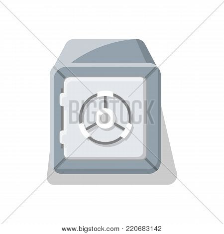 Armored deposit box icon. Money storage, financial safety, cash security, bank safe box isolated on white background vector illustration.