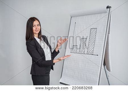 business woman is pointing at the diagram