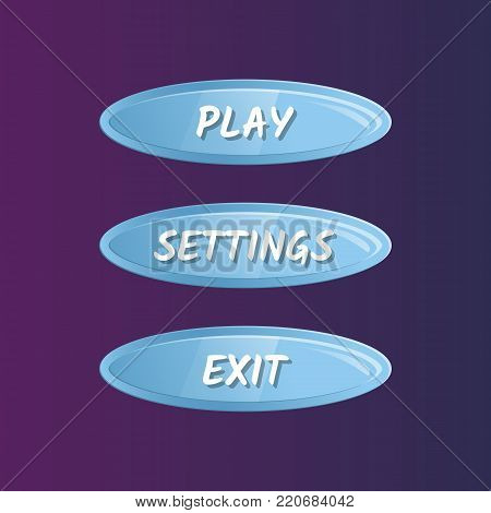 Blue oval options selection windows set in cartoon style. Play, settings and exit buttons. Bright user game design isolated vector illustration
