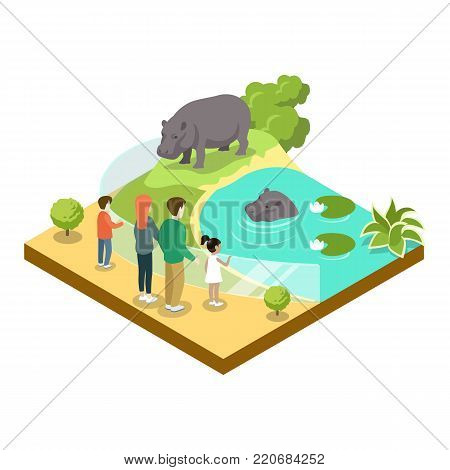 Cage with hypopotamuses isometric 3D icon. Public zoo with wild animals and people, zoo infrastructure element for design vector illustration.