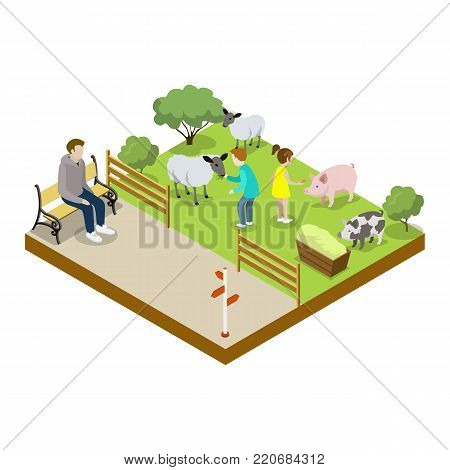 Cage with sheeps isometric 3D icon. Public zoo with wild animals and people, zoo infrastructure element for design vector illustration.