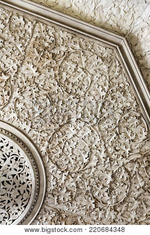 MONSERRATE, PORTUGAL - October 3, 2017: Intricate plasterwork on the walls of the Monserrate Palace, an exotic palatial villa located near Sintra, Portugal