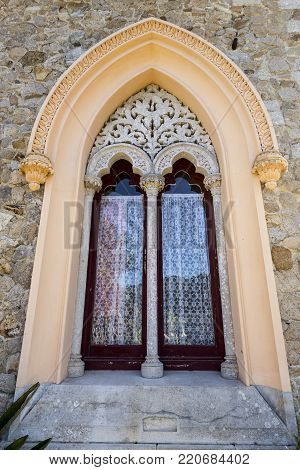 MONSERRATE, PORTUGAL - October 3, 2017: Doors to the garden of the Monserrate Palace, an exotic palatial villa located near Sintra, Portugal