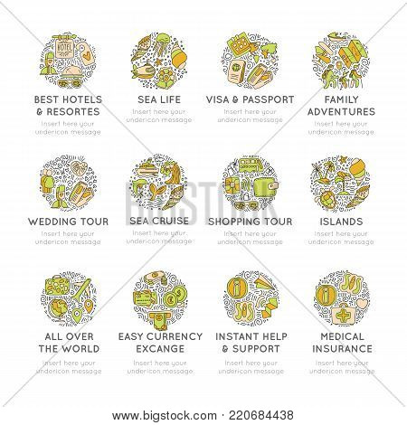Travel hand draw icons. Icon lined cartoon collection about adventure, outdoor activivies, beach, summer, travelling, get a vacation and extremal sport. Traveling icon set, sketch doodle elements