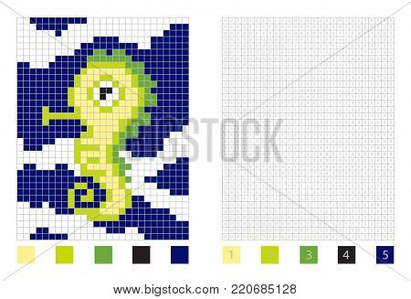 Pixel fich horse cartoon in the coloring page with numbered squares, vector illustration