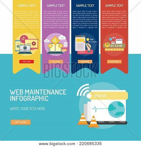 Web Maintenance Infographic | Set of great infographic design illustration concepts for web, maintenance, internet, network and much more.