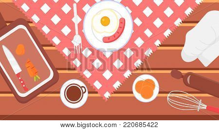 Healthy food concept on wooden table. Cooking and healthy eating banner food preparation at home. Food recipes banner with kitchenware, utensils, egg, sausage pancake, carrot. Vector flat illustration
