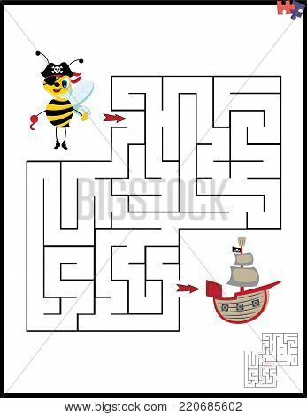 Cartoon Vector Illustration of Education Maze or Labyrinth Leisure Game with Pirate Bee and Pirate Ship.