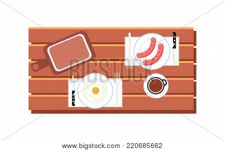 Cooking and food web banner with breakfast on wooden table. Icons set. Top view of plate with breakfast. Breakfast concept with scrambled eggs, sausages and coffee. Flat vector illustration.