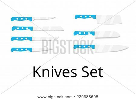 Kitchen cutting knives set. Set of butcher meat knives for butcher shop and design butcher themes. Element for web, culinary infographic, brochure, restaurant presentation. Flat vector illustration.