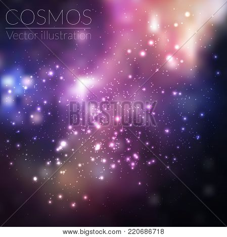 Space vector background with stars. Universe illustration. Colored cosmos backdrop with stars claster. Deep blue colors