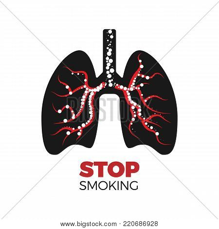 Stop smoking concept. Vector illustration of lungs silhouette with damaged bronchi, filled with round-shaped smoke. Isolated on white background.