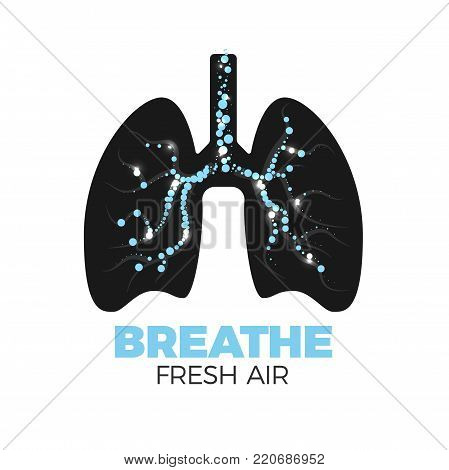 Healthy lungs vector icon. Fresh air breathing concept. Lungs silhouette with bronchi full of air bulbs. Isolated on white background. Stop smoking!