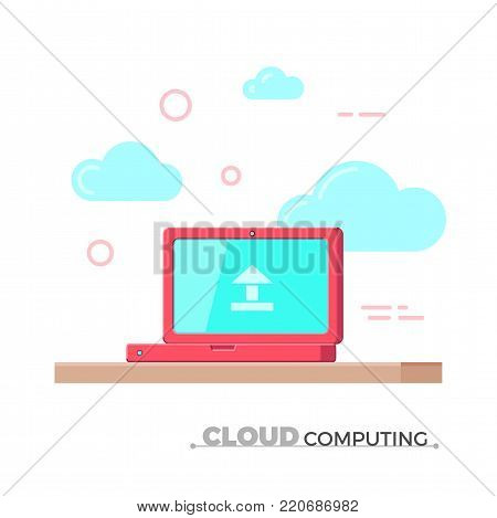 Cloud computing vector concept. Flat design illustration of a laptop standing on the table in clouds. File sharing, data storage, cloud database concept. Isolated.