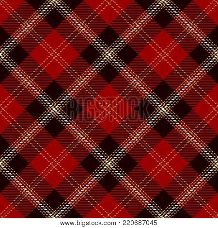 Tartan Seamless Pattern Background. Red, Black, Gold  and  White  Color  Plaid.  Flannel Shirt Patterns. Trendy Tiles Vector Illustration for Wallpapers.