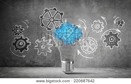 Lightbulb with cloud from gears inside placed against sketched gear mechanism on grey wall on background. 3D rendering.