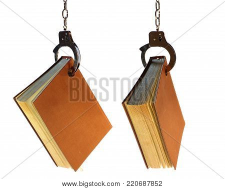 handcuff and books objects isolated crime library theme