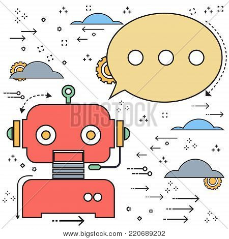 Vector flat line doodle chatbot robot creative design. Vector illustration Chatbots AI artificial intelligence technology concept.