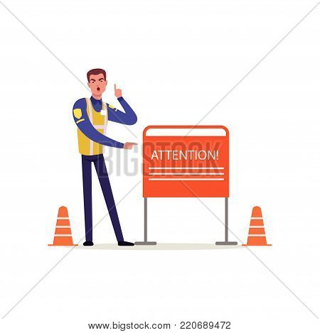 Officer of traffic police in uniform with high visibility vest pointing at attention sign, policeman character at work vector Illustration on a white background