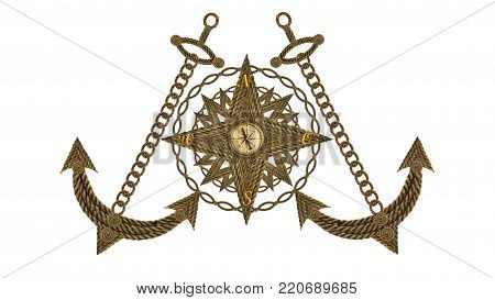 Compass, anchor, compass, steering wheel from old ropes