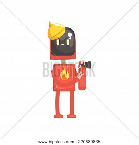 Robot fireman character, android in red uniform holding extinguish in its hands cartoon vector illustration isolated on a white background poster